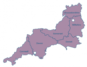 Fostering areas ion the South West of UK