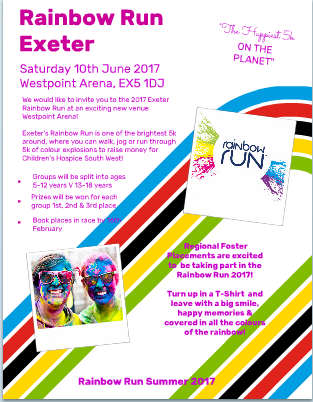 Rainbow Run for Chairty in Exeter